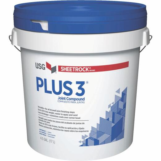 Sheetrock Plus 3 Pre-Mixed 4.5 Gal. Pail Lightweight All-Purpose Drywall Joint Compound