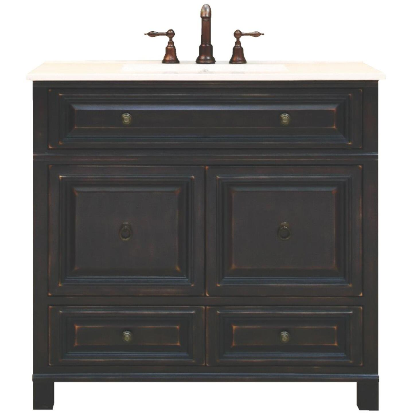 Sunny Wood Barton Hill Black Onyx 36 In. W x 34 In. H x 21 In. D Vanity Base, 2 Door/2 Drawer Image 1