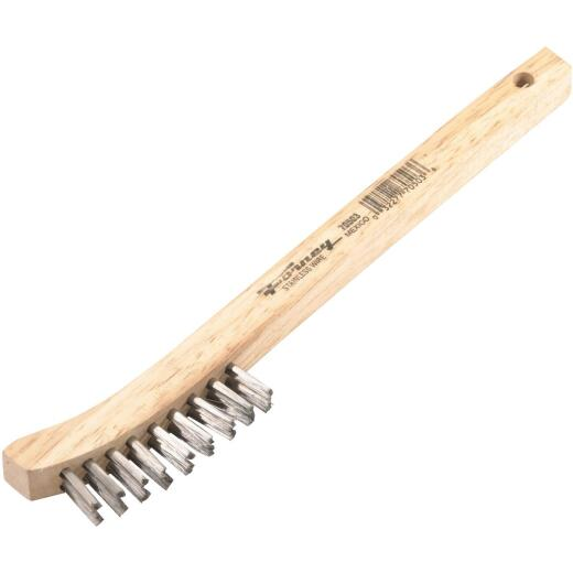 Forney 8-5/8 In. Curved Wood Handle Wire Brush with Stainless Steel Bristles
