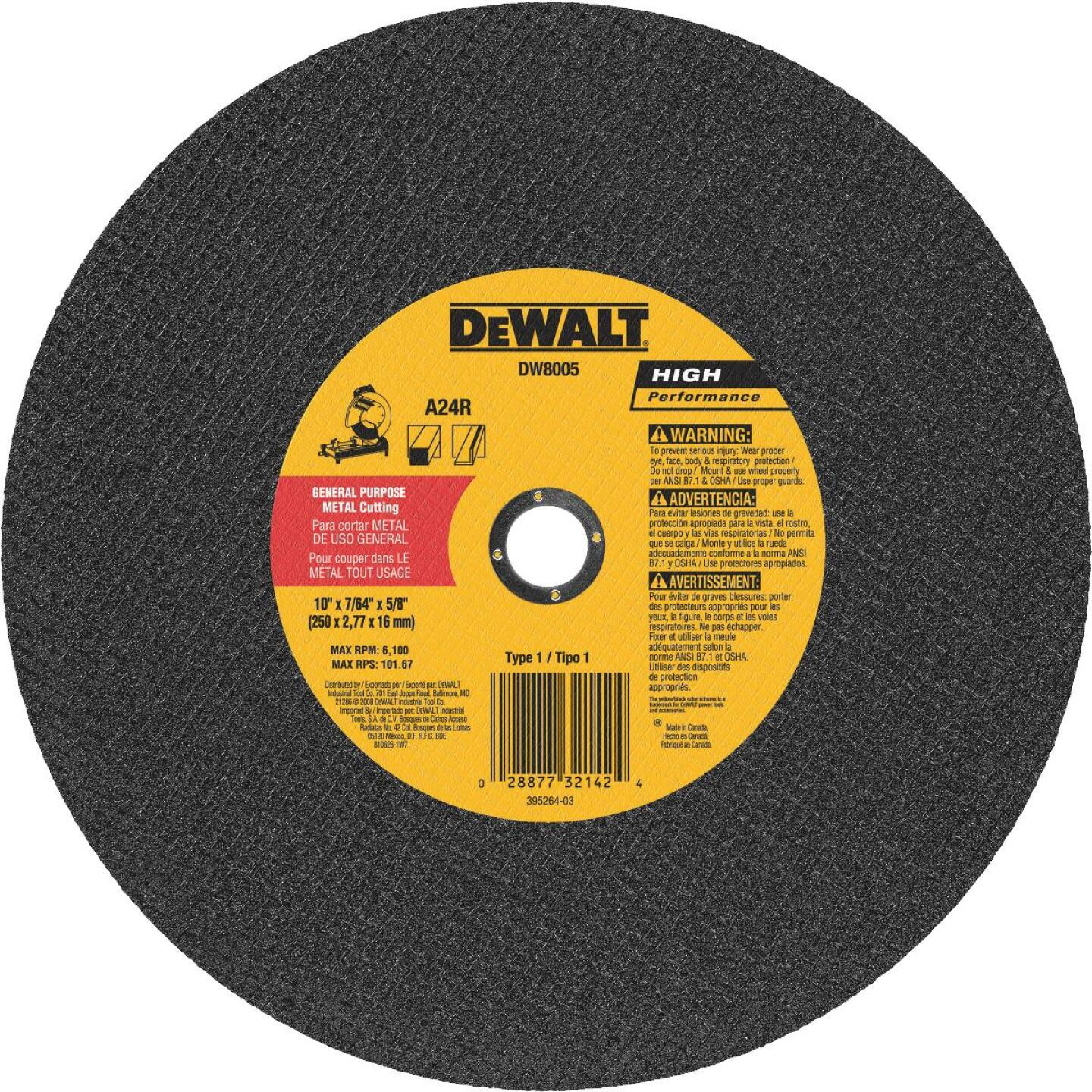 DeWalt HP Type 1 10 In. x 7/64 In. x 5/8 In. Metal Cut-Off Wheel Image 1