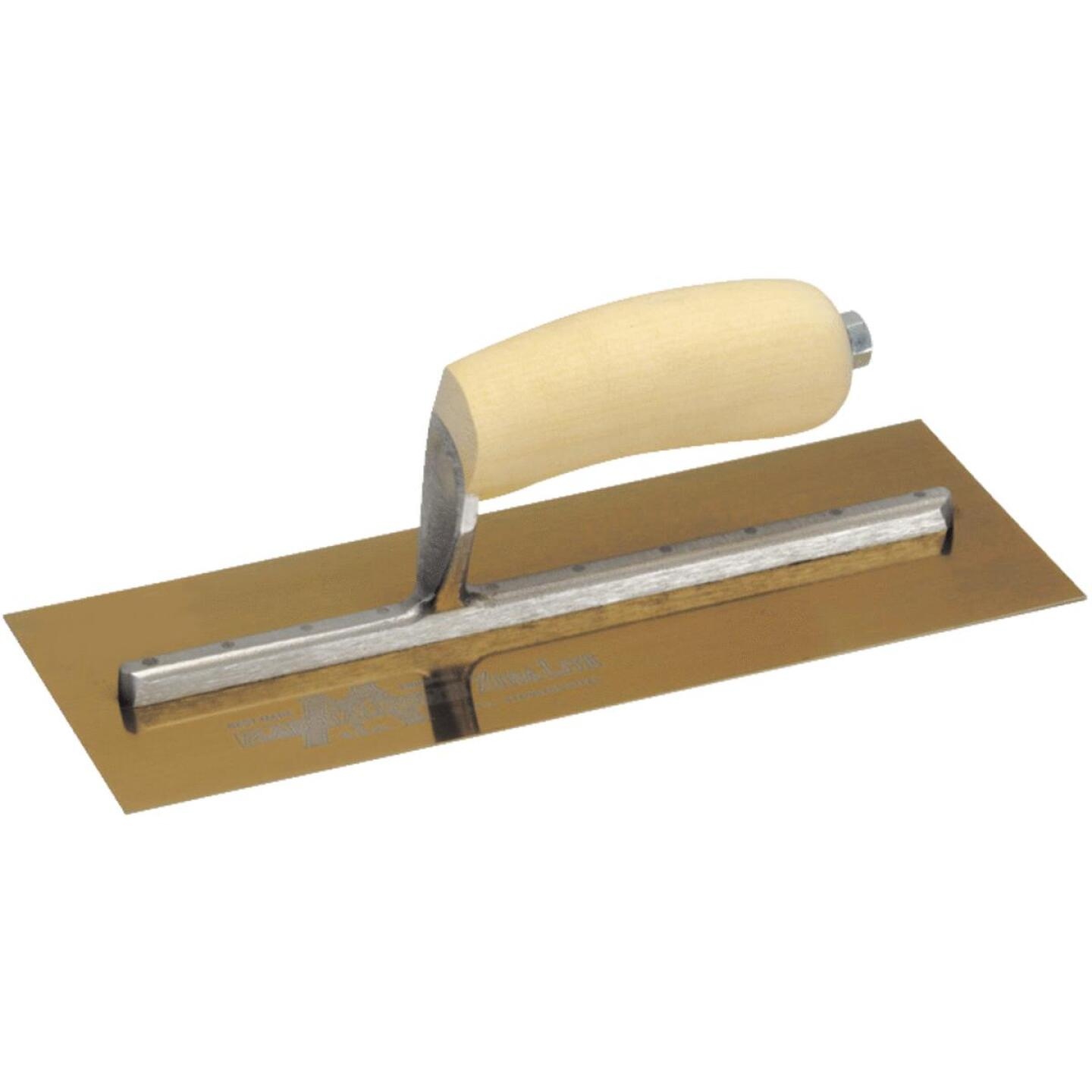 Marshalltown 4-1/2 In. x 11 In. Golden Stainless Steel Finishing Trowel with Curved Wood Handle Image 1