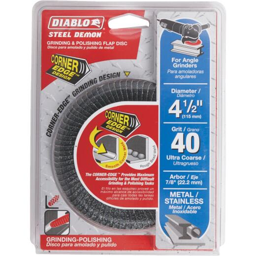 Diablo Steel Demon 4-1/2 In. x 7/8 In. 40-Grit Type 29 Corner-Edge Angle Grinder Flap Disc