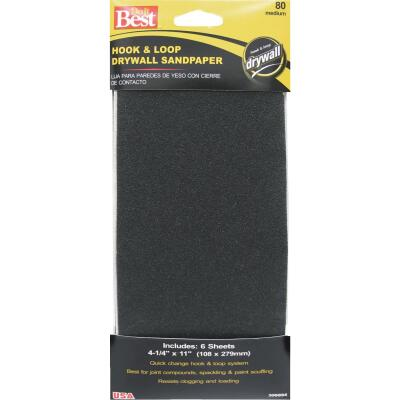Do it Best 80 Grit 4-1/4 In. x 11 In. Hook and Loop Drywall Sandpaper (6-Pack)