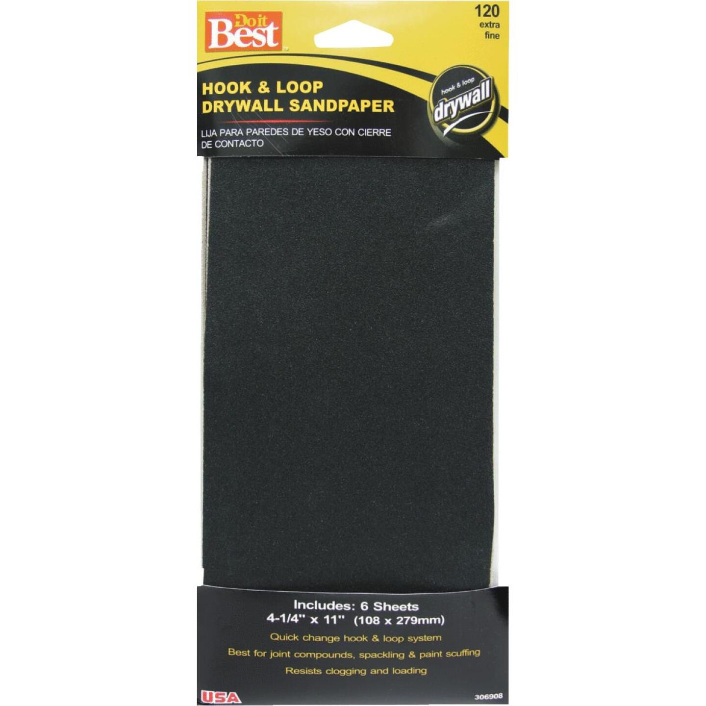 Do it Best 120 Grit 4-1/4 In. x 11 In. Hook and Loop Drywall Sandpaper (6-Pack) Image 1