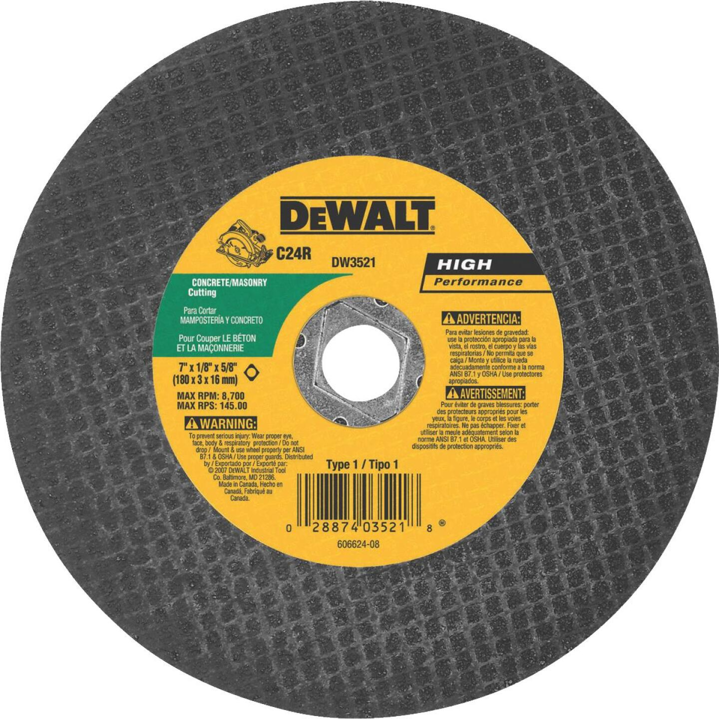 DeWalt HP Type 1 7 In. x 1/8 In. x 5/8 In. Masonry Cut-Off Wheel Image 1