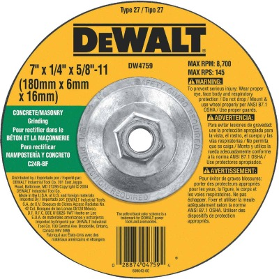 DeWalt HP Type 27 7 In. x 1/4 In. x 5/8 In.-11 Masonry Grinding Cut-Off Wheel
