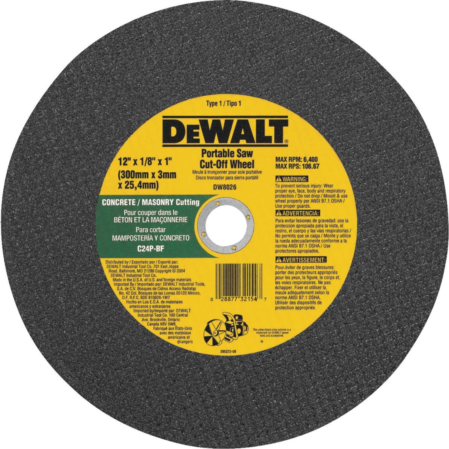 DeWalt HP Type 1 12 In. x 1/8 In. x 1 In. Masonry Cut-Off Wheel Image 1