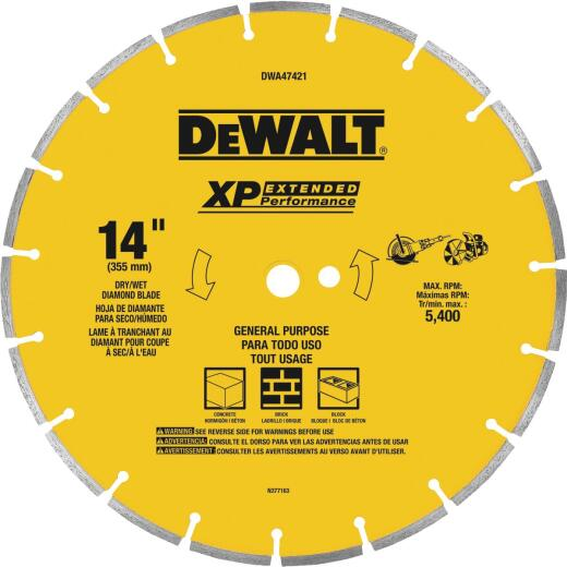 DeWalt Extended Performance 14 In. Segmented Rim Dry/Wet Cut Diamond Blade