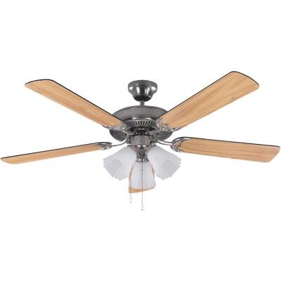 Home Impressions Sherwood 52 In. Brushed Nickel Ceiling Fan with Light Kit