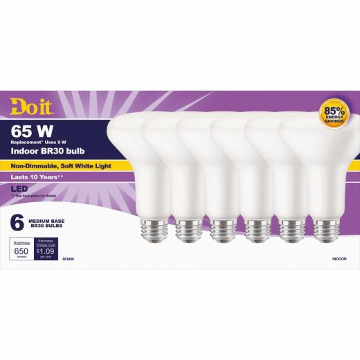 Do it 65W Equivalent Soft White BR30 Medium LED Floodlight Light Bulb (6-Pack)