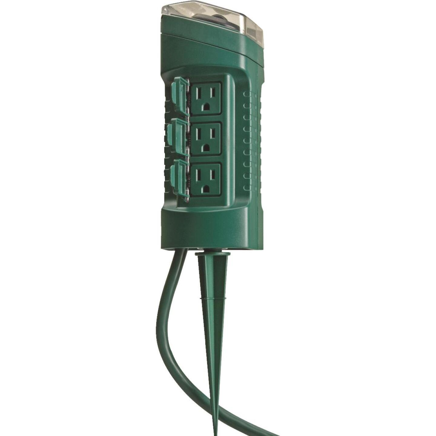 Woods 15A 125V 1875W Green Outdoor Timer Power Stake Image 1