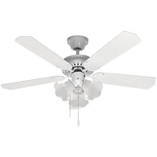 Home Impressions Tradition 42 In. White Ceiling Fan with Light Kit