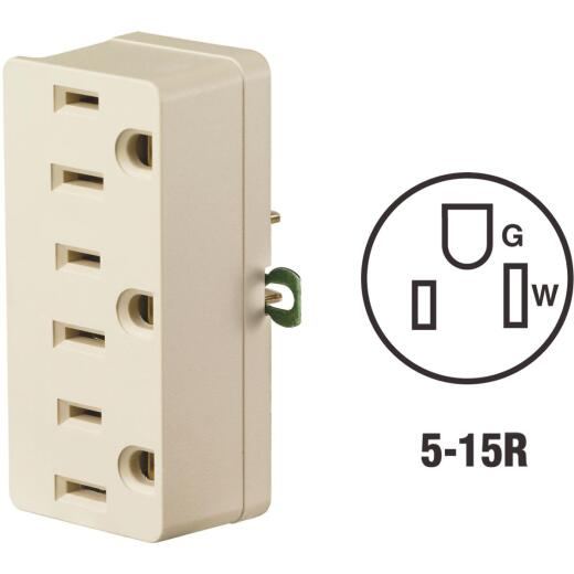 Leviton Ivory 15A 3-Outlet Tap