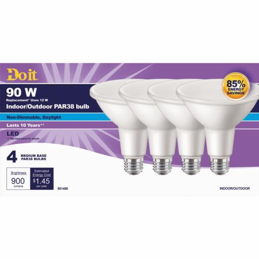 Do it 90W Equivalent Daylight PAR38 Medium LED Floodlight Light Bulb (4-Pack)