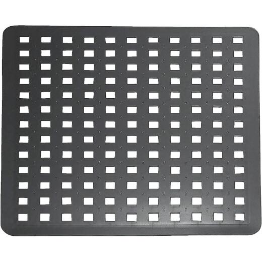 iDesign Euro 11 In. x 12.5 In. Black Plastic Sink Mat