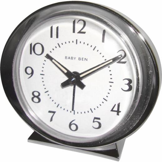 Westclox Baby Ben Silver Classic Style Battery Operated Alarm Clock