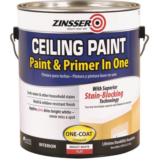 Zinsser Latex Paint & Primer In One Stainblock Flat Ceiling Paint, Bright White, 1 Gal.