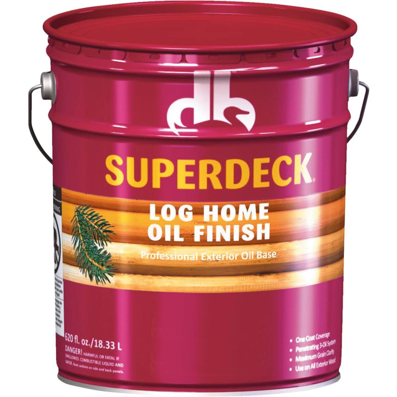 Duckback SUPERDECK VOC Translucent Log Home Oil Finish, Autumn Brown, 5 Gal. Image 1